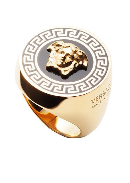 Versace Men Greek Line Enamel Ring
