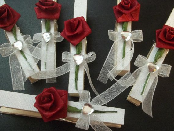 Valentine Themed Decorative Clothespins Red by DeborahsEclecticity