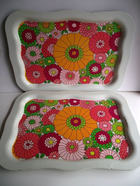 Bold & Bright Flower Power Serving Tray, Set of Two Aluminum Trays, Large Tray