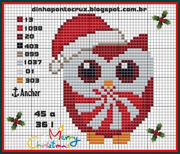 Christmas owl pattern by Dinha Ponto Cruz