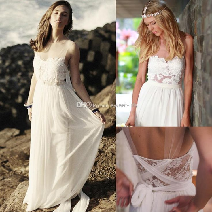 discount new 2014 cheap sexy bohemian wedding dresses white see through applique backless sheer romantic beach