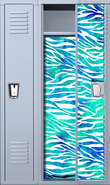 Zebra Print Teal Watercolor School Locker Wallpaper