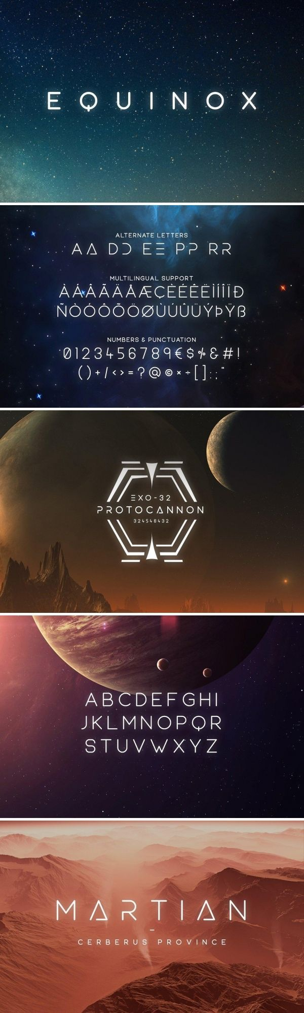 Equinox is a modern, minimal and clean font family with uppercase multilingual letters, numbers, punctuation and alternate letters. It's not as futuristic as my other sci-fi fonts but it's much more versatile and can be used for non sci-fi purposes as well. @creativemarket