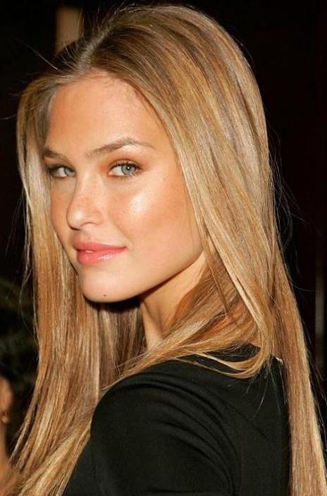 Bar Rafaeli's long super sleek blonde hairstyle with subtle caramel streaks