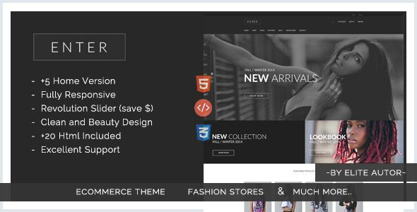 Enter - eCommerce Fashion Responsive html5 template #webdesign #website #design #responsive #besttemplates #template #SiteTemplates #Retail #Shopping