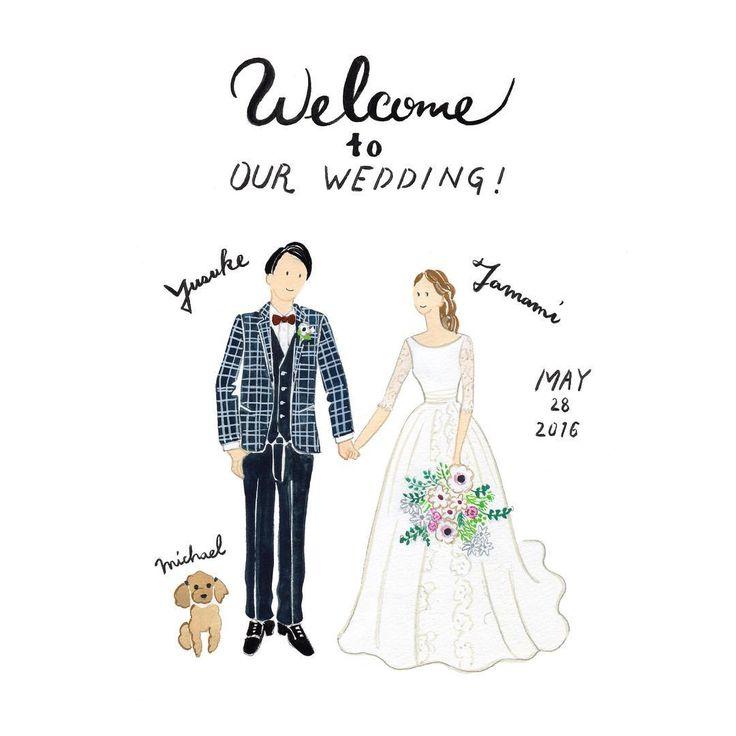 Welcome to Our Wedding  大きめなブーケ  おふたりの衣装&ドレス素敵です犬のMichael ちゃんも一緒に   おめでとうございます    過去の作品は  #cuicui_illustboard   でご覧いただけます    #cuicui_wedding #welcomeboard #welcomespace #illustration#illustrator  #bridal #wedding   #プレ花嫁#花嫁#ウェルカムボード #ウェルカムスペース #イラスト #イラストレーション#新郎新婦#新郎新婦#結婚式#結婚準備 #結婚式場 #ウェディングドレス #instagood #instawedding #席次 #招待状 #invitationcard #invitation #flower #bouquet #dog