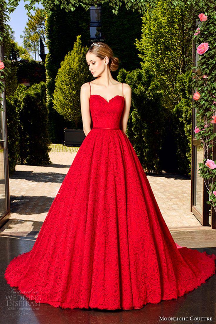 moonlight couture spring 2017 bridal spagetti strap sweetheart neckline full embellishment romantic princess red color a  line wedding dress v back chapel train (h1321) mv