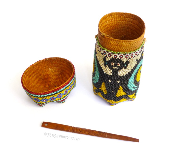 Indonesian Beadwork, Kenyah-Kayan Dayak group, East Kalimantan or Upper Mahakam river area, Borneo, Indonesia. Earrly or mid-20th century  #dayak #indonesia