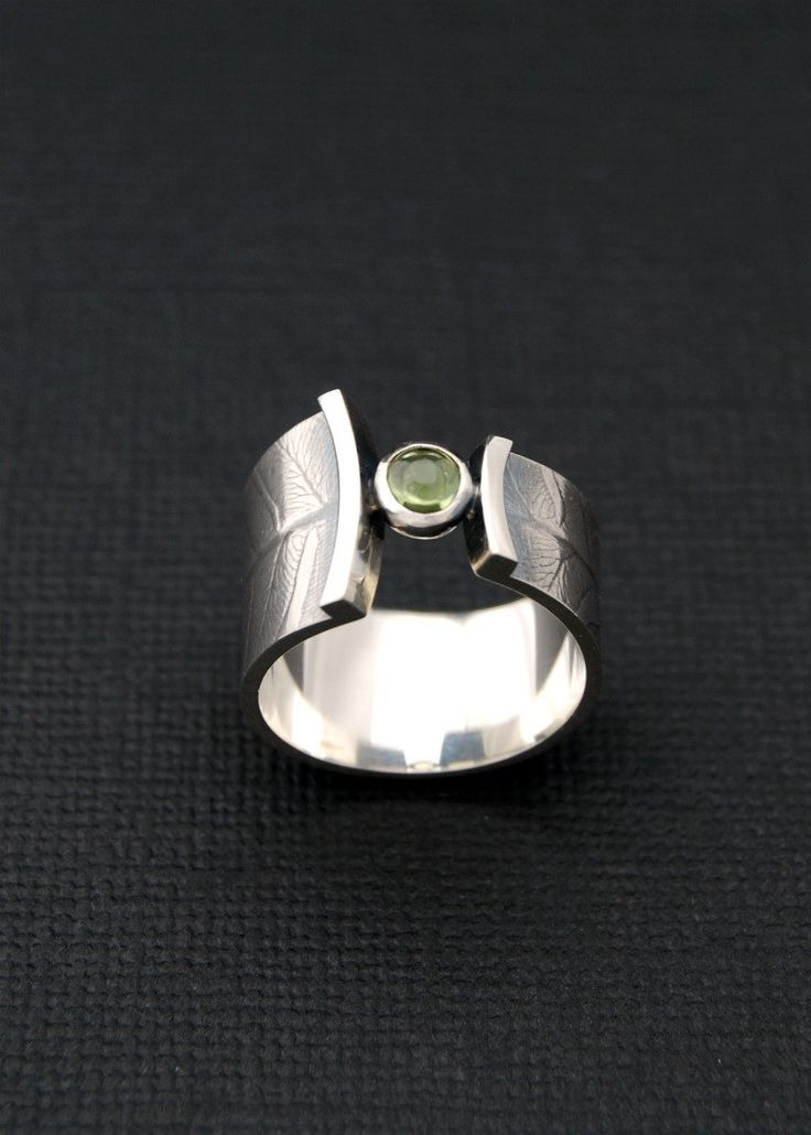 Fern wrap ring  sterling silver band with peridot door LucieVeilleux