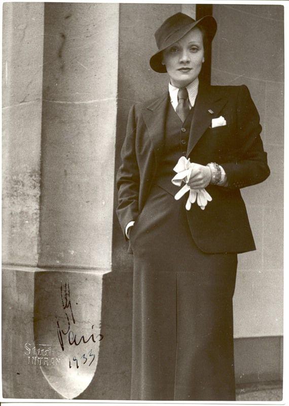 Marlene Dietrich in menswear.