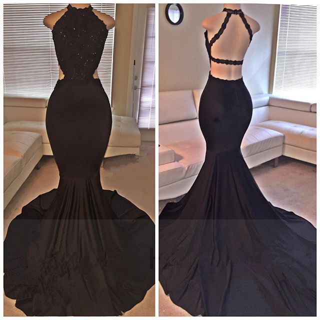 2016 Black Mermaid Backless Evening Dress, Backless Prom Dresses ,Beading Prom Dress,Long Prom Gowns,Prom Dress On Sale,Formal Dress,Real Made Prom Evening Dress