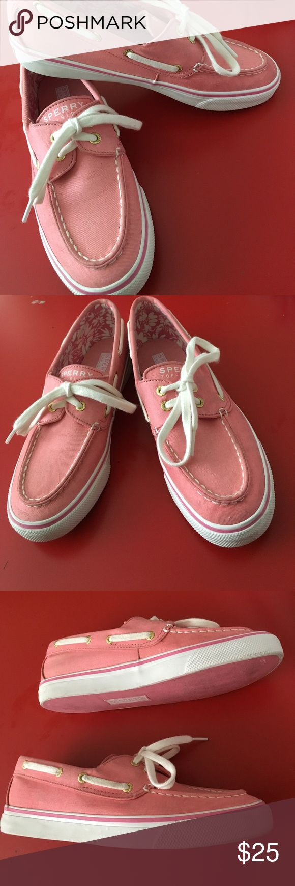 Pink Sperry Top-Siders Womens Size 6 1/2 Very Good used condition. Gold lace holes Pretty salmon type pink color. Flower pattern interior. Sperry Top-Sider Shoes Flats & Loafers