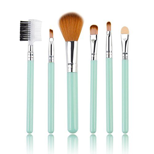 Makeup Brush Set,6 Piece Collection with Blush Brush,Luismia Light Blue/Pink Premium Synthetic Bristle Eyeshadow Brush,Lip Brush,Sponge Tip Applicator,Lash Curler,Eyebrow Sharper(Random Color) -- Continue to the product at the image link.