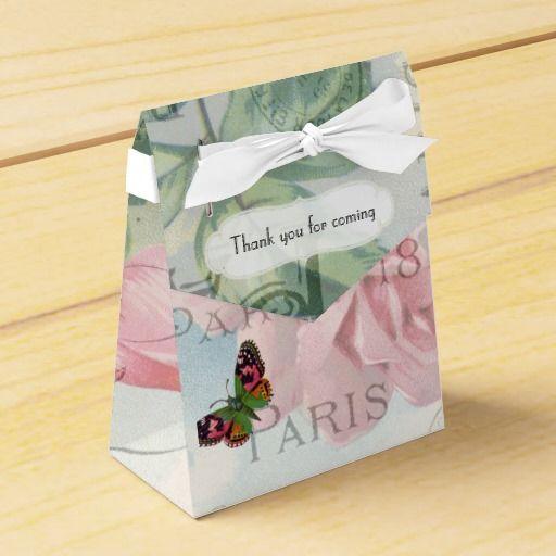 Paris Wedding Vintage Shabby-Chic Pink Rose Custom Favor Boxes