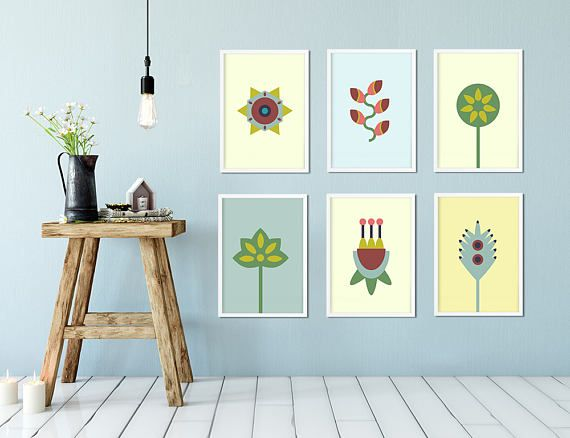 Set 3 prints Wall Minimal Printables Flat flowers Printable