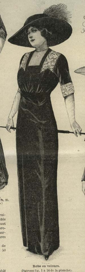 MODE ILLUSTREE PATTERN Oct 20,1912-VELVET DRESS $24.80