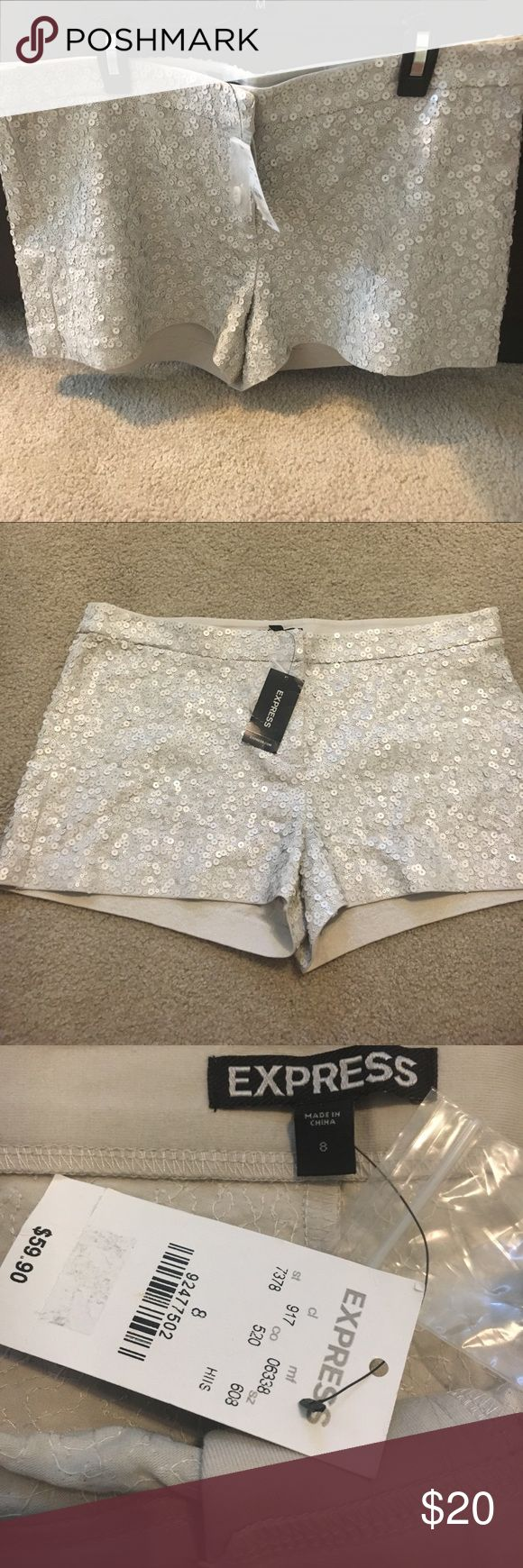 Beautiful sequin shorts by Express New taupe These cuties are 15 flat/30in much in waist. Great for any occasion dress them up or down. Inseam 2 inch . Make a reasonable offer. They are a reposh. I could not wear . No damages . I actually had the black pair prior to purchasing these and loved them. Color is a ivory/cream or beige can go with any color Express Shorts