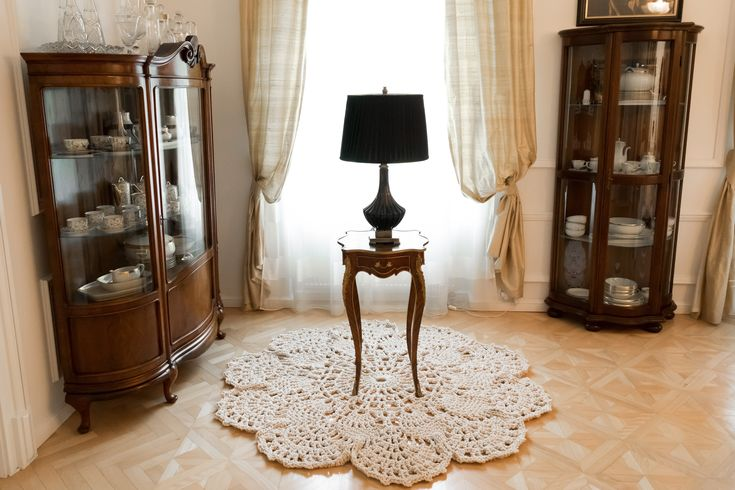 Incredible hand crocheted carpet in a old family villas dining room corner. Beautiful wooden parquet floor with a combination of antique furniture. #homedecor #carpet by merleholm.eu