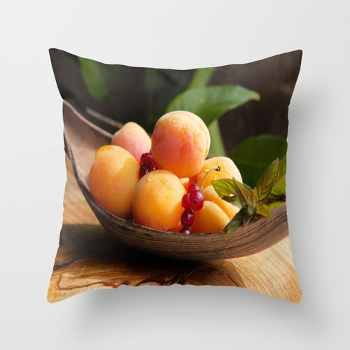 Fresh Apricots on Tabel Throw Pillow