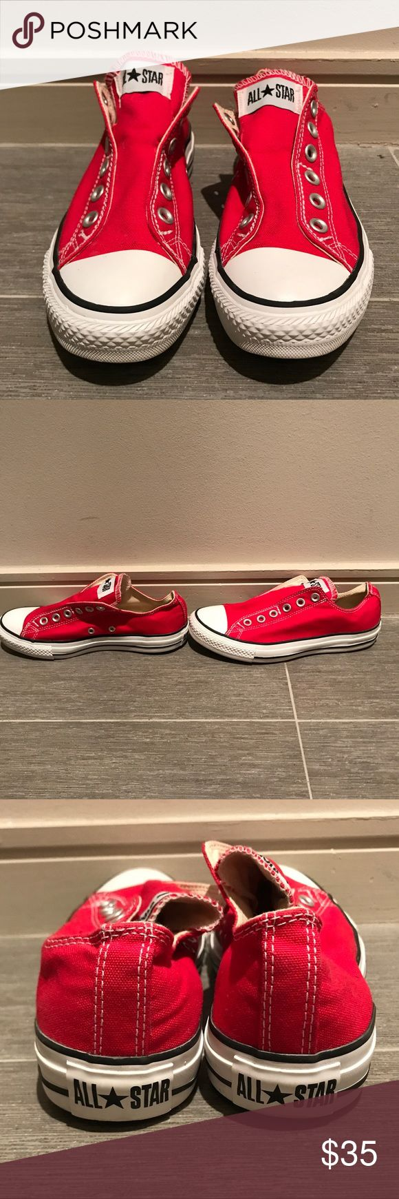 Like New Red Converse Slip Ons Worn once! In excellent condition! Converse Shoes