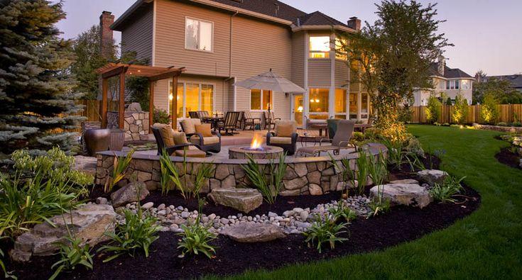 landscape sloped backyard with hot tub and firepit backyard designs with fantastic landscaping. Black Bedroom Furniture Sets. Home Design Ideas