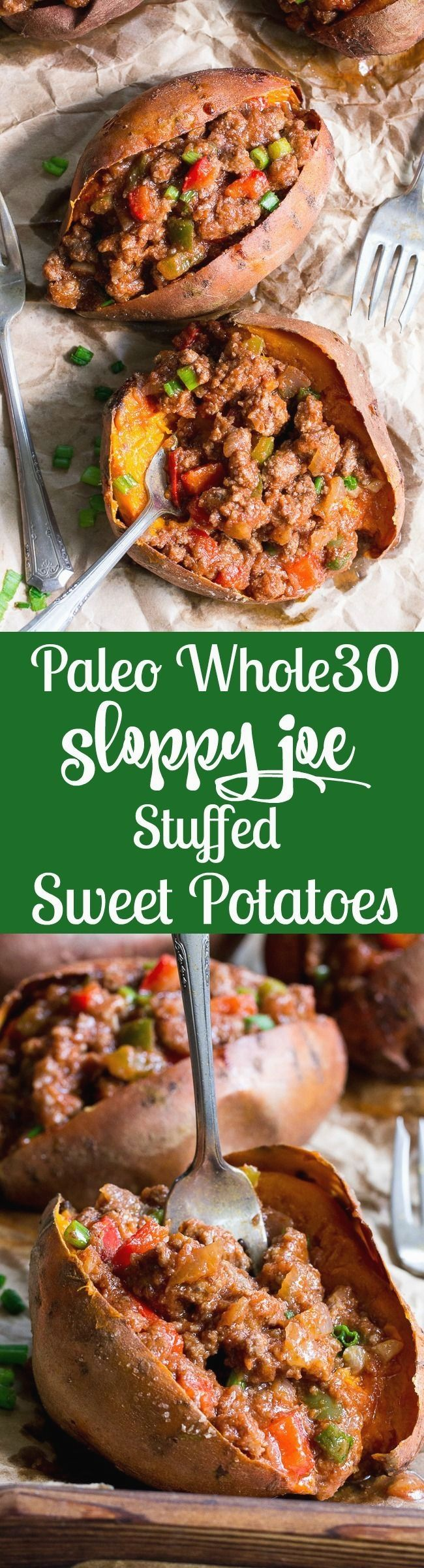 These Paleo sloppy joe stuffed sweet potatoes are classic comfort food made without the junk! The sauce is date sweetened to make it Whole30, and it's quick and easy enough for weeknight dinners. Family approved and makes great leftovers, too! quick diet dairy free