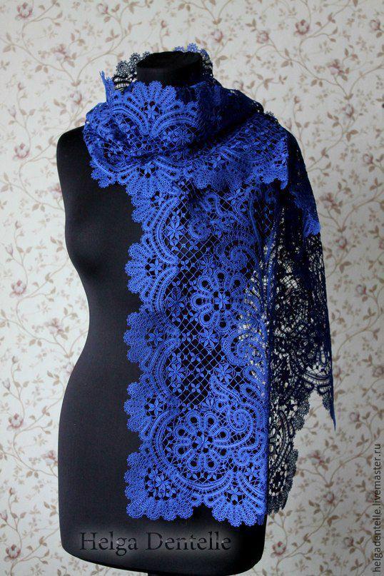 Купить Кружевной палантин - кружево на коклюшках, вологодское кружево, Кружевной палантин, шарф, синий цвет