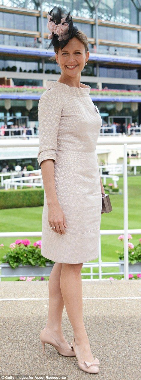 Katie Derham arrived in a neutral Suzannah dress to enjoy her day at the races...