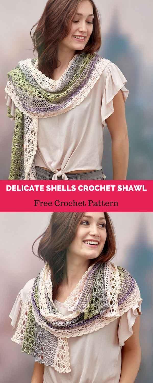 4894 Best Shawlsponchosscarfsscrugscoats Crochet Images On All Shawl Stitch Diagrams Doris Chan Delicate Shells Free Pattern