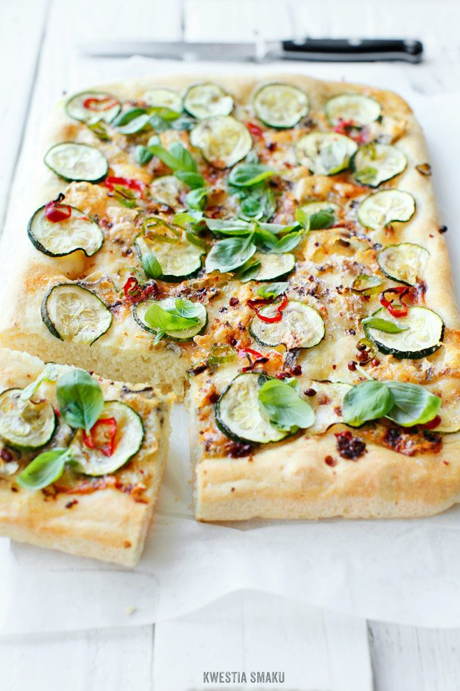 Focaccia with zucchini and bleu cheese