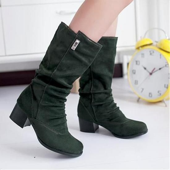 Womens Boots | Graceful Green Round Closed Toe Chunky Low Heel Boots - Hugshoes.com
