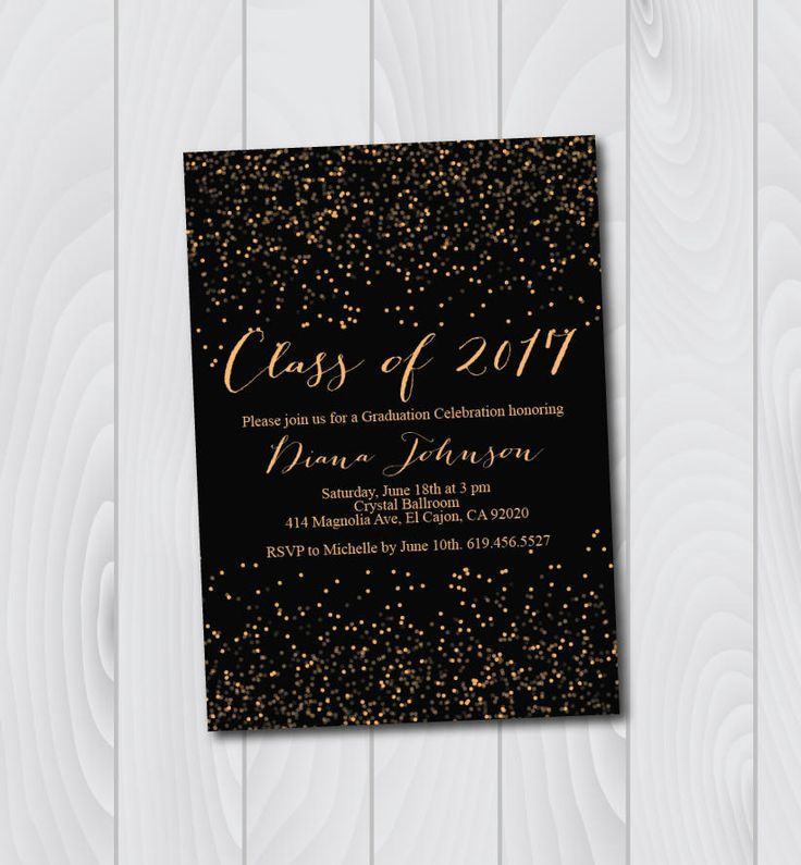 ON SALE -- Class of 2017 Graduation Invitation Card (graduation announcement) - Print at Home or E-card--Black and Gold by BlessedDayPaper on Etsy