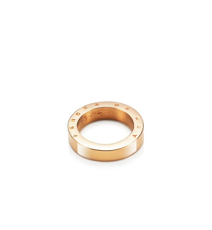"Efva Attling - Pencez De Moy I - $2,595. Gold or white gold ring with stamped letters on the side, ""Pencez de Moy"", 14th century French for ""Think of me""."