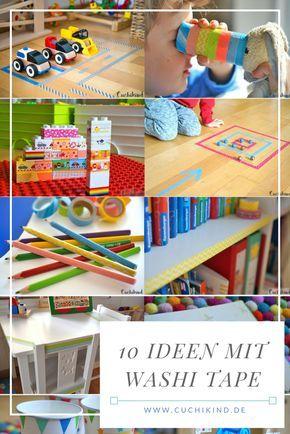 10 tolle Ideen für Kinder mit Washi Tape/Klebeband. Super schnell zum Nachmachen. Z.B. Duplosteine mit Washi Tape verschönern, Murmelspiel basteln, Straßen kleben, ...