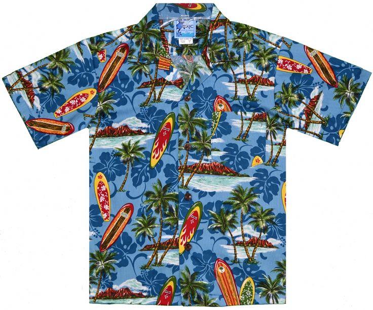 Surfboard Paradise Boys Hawaiian Aloha Shirt in Blue, Kids Boys Girls Babies Hawaiian Shirts Dresses Clothing, 202-203C-B38-Blue - Paradise Clothing Company