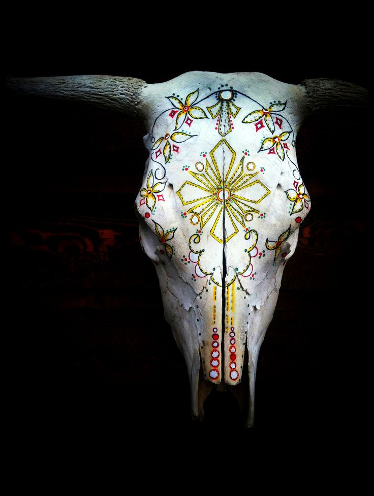 Tambourine || Hand Painted Cow Skull by Amy Symonds for #urbanoutfitters