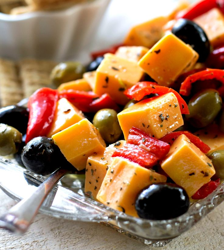 Marinated Cheese Peppers and Olives is a fantastic appetizer or side dish that's easy to prepare and fantastic for parties or football games.