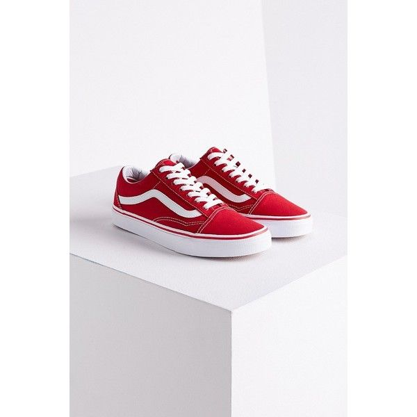 Vans Old Skool Sneaker ($50) ❤ liked on Polyvore featuring shoes, sneakers, vans shoes, rubber sole shoes, grip shoes, red shoes and vans sneakers