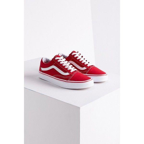 vans old skool red white stripe