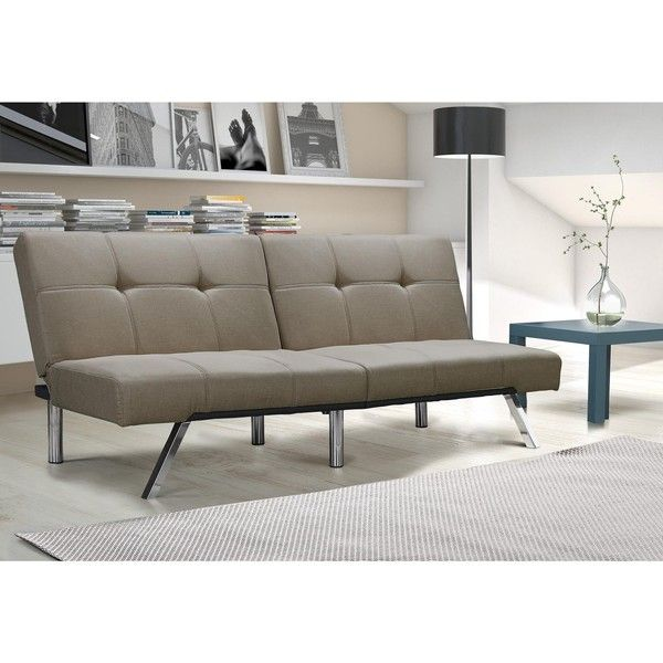 DHP Layton Tan Linen Futon ($225) ❤ Liked On Polyvore Featuring Home,  Furniture