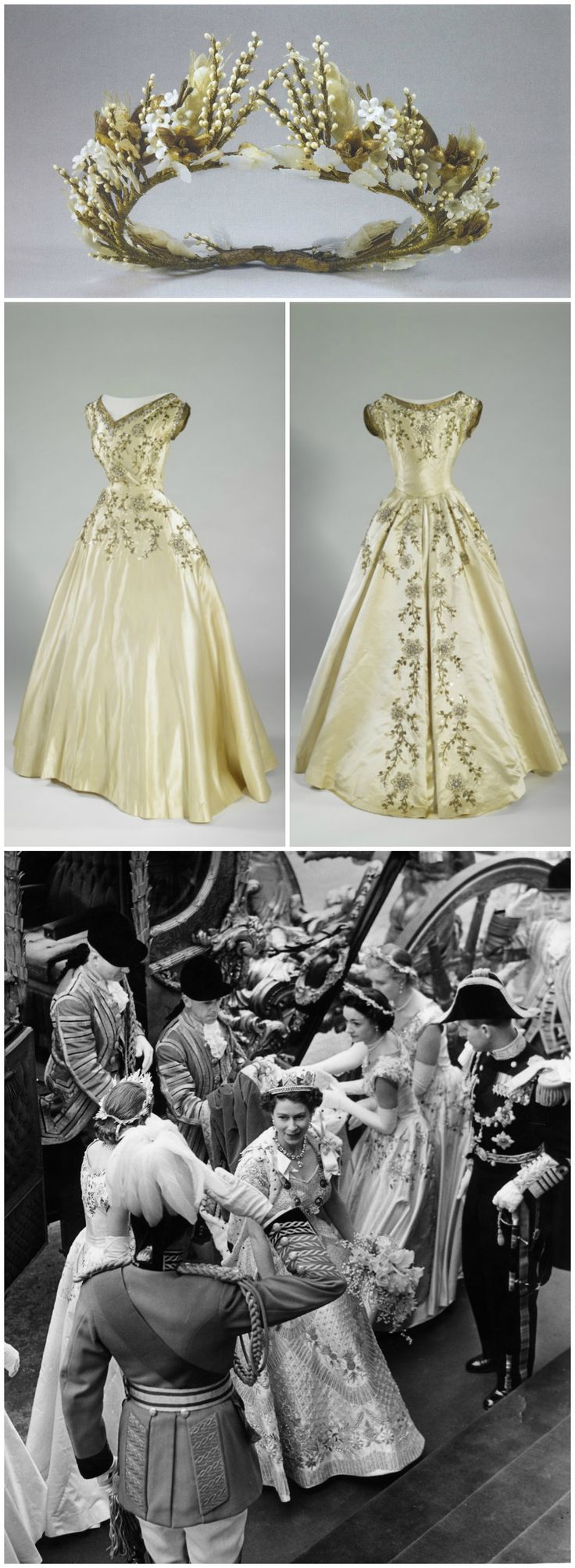 Six Maids of Honour attended on Queen Elizabeth II at the 1953 coronation. They wore cream silk satin dresses edged with gold tissue with embroidery designs of trailing flowers and foliage. Designer Norman Hartnell planned for the embroidery to cascade down the backs of the skirts, because the gowns of the Maids of Honour would be visible from all sides, particularly the back, as they carried the Queen's robes down the aisle of Westminster Abbey. Their headdresses were also designed by…
