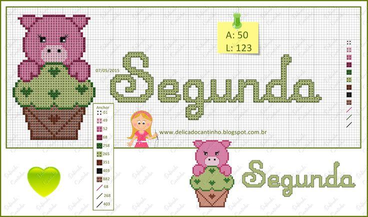 Delicado Cantinho: Graficos Ponto Cruz Semaninha Animais + Cupcakes