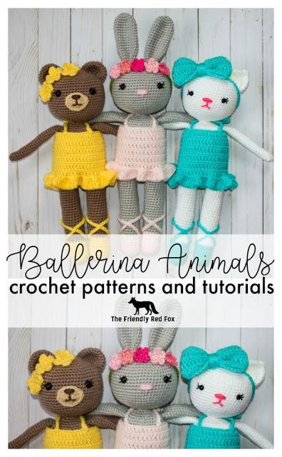 Ballerina Animals Crochet Patterns - The Friendly Red Fox Each doll is about 15 inches tall (depending on the ears!) comes with the slippers, dress and respective headgear!