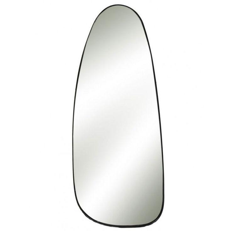 Grand Miroir Mural Métal Noir Forme Galet – Hauteur 95cm – Taille : Taille Unique