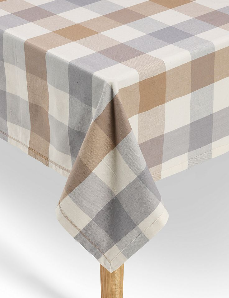Pure Cotton Jumbo Checked Tablecloth   M&S