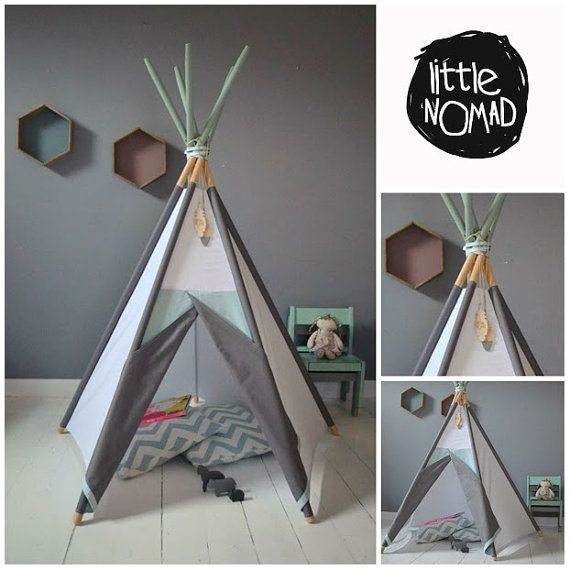 Available in different colors. Poles included. Worldwide shipping. Handmade Teepee is a refuge against the sun, wind or ... against monsters.