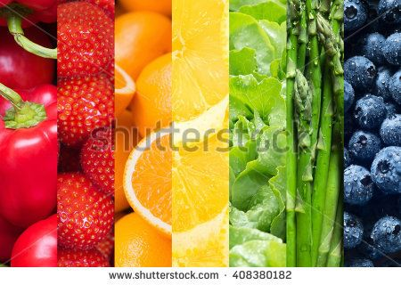 Healthy food backgrounds, seven images of lemons, asparagus, blueberries, paprika, salad, strawberries and oranges