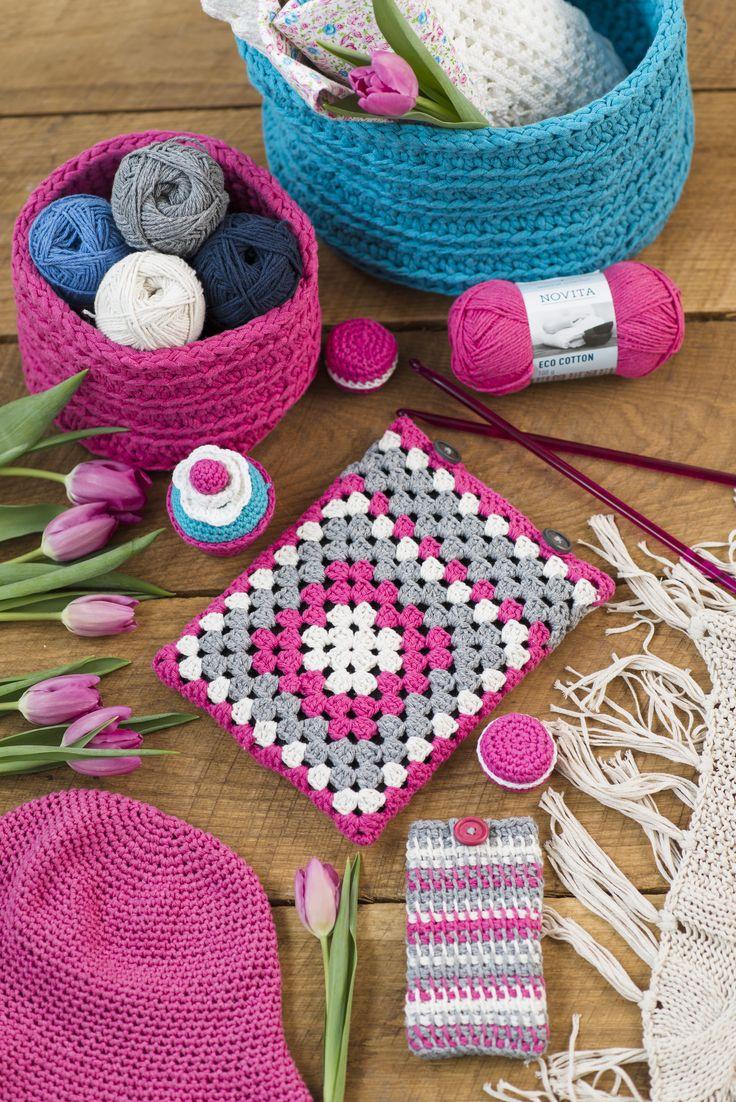 Virkattu tablettikotelo Novita Eco Cotton   Novita knits