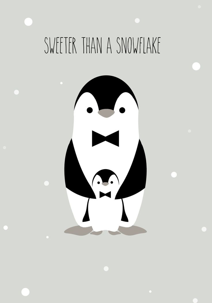 Sweeter than a snowflake / Affiche / Poster déco pour chambre d'enfant / Pingouin / Black and white / Kids / Vintage / Scandinave / Children's room / Illustration
