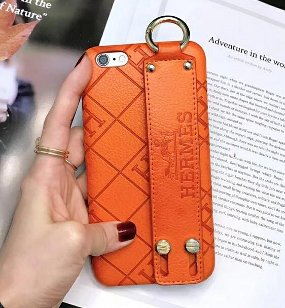 89d764e709e iPhone 8 Hermes Leather Hand Strap Phone Case Stand Shell Cover for iPhone  X Capa
